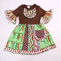Kerst Baby Hot Koop en Najaar Zuigelingen En Kinderen Korte Mouwen Patchwork Multicoloured Jurk Appparel Accessoire