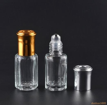 100PCS 3 6 10 12ML Octagonal Glass Bottle with Gold Lid, Aroma Roll on Bottle, Perfume Roller Bottles, Essential Oil Packaging#