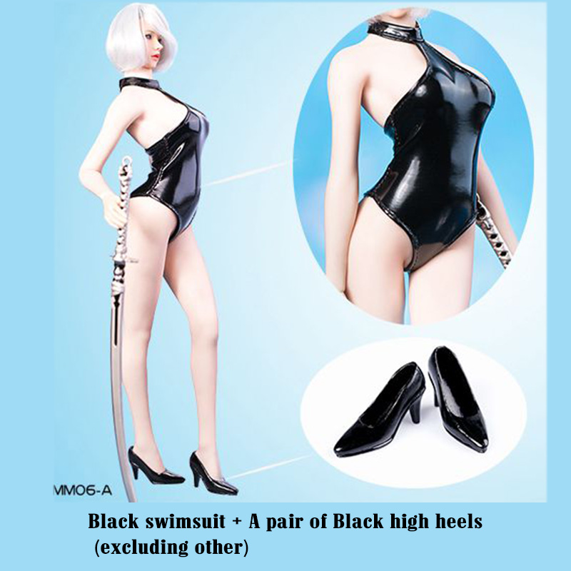 1/6 Scale MM06 YoRHa 2B BK Halter Bikini swimsuit Costume Leather Clothing W/High Heels Shoes F 12Big Bust Body Action figure