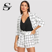 Sheinside Black and White Plaid Notched Blazers With Self Tie Waist Shorts Womens Two Piece Sets 2019 Elegant 2 Piece Women Set