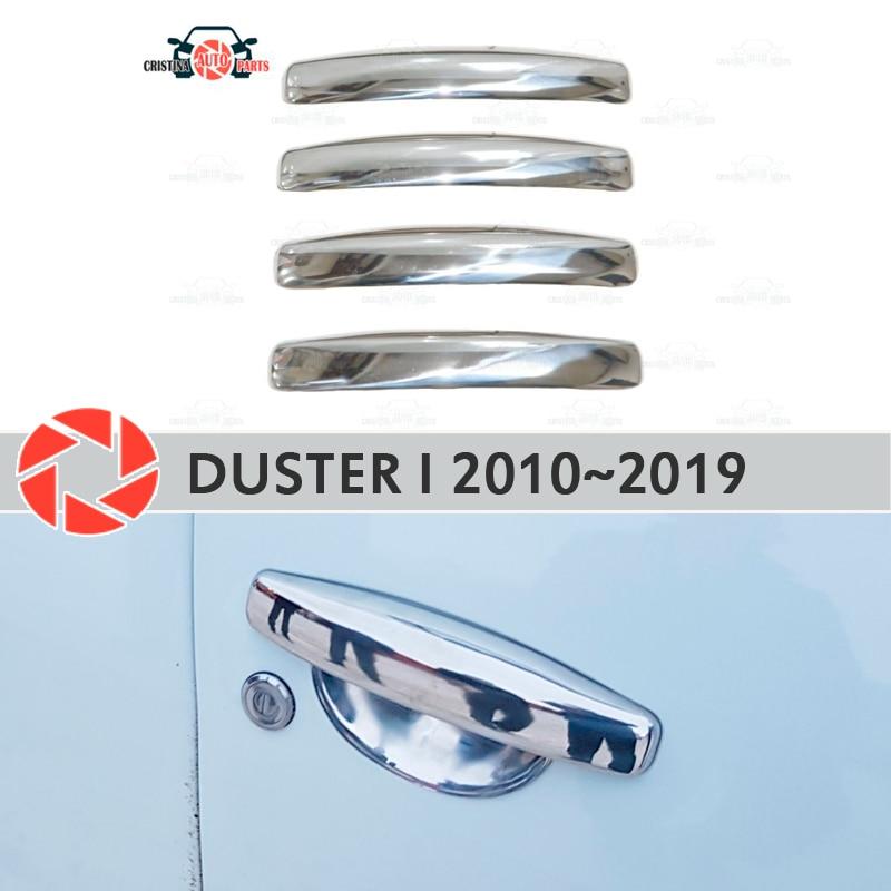 Cubiertas de manija de puerta para Renault Duster 2010 ~ 2019 placa de acero inoxidable accesorios de decoración de diseño de coche moldeado
