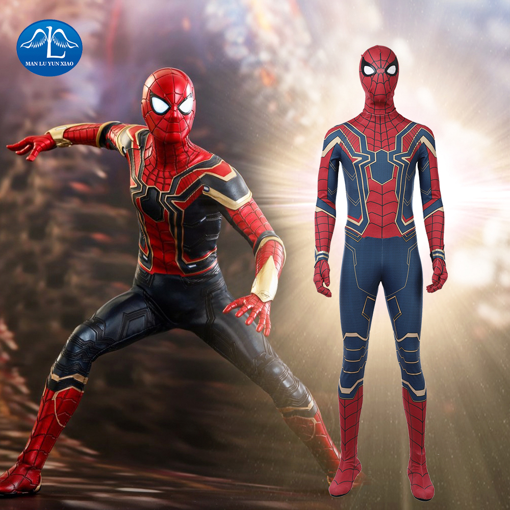 MANLUYUNXIAO 2018 Avengers Infinity War Spiderman Cosplay Costume Halloween Costumes For Men Tom Holland Costume Custom Made