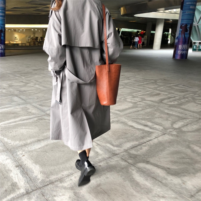 Korean Style Long   Trench   Coat for Women's Vintage Solid 2018 Autumn Women Fashion Double-breasted Windbreaker Manteau Hiver