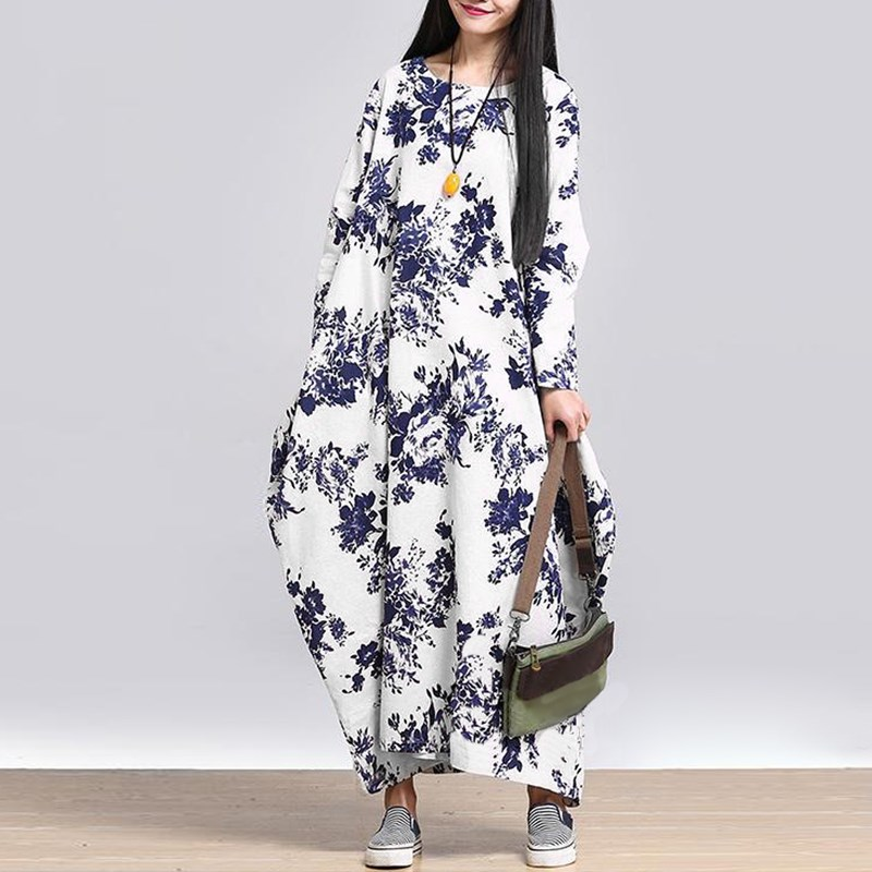 Vintage Women ZANZEA 2018 Floral Print Long Sleeve Robe Casual Loose Cotton Linen Crew Neck Long Maxi Dress Vestidos Plus Size