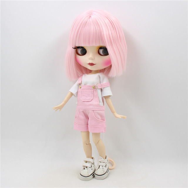 TBL Neo Blythe Doll Matte Skin Pink Hair Regular and Jointed Body