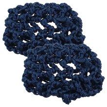 MYTL 2 Pcs Navy Blue Elastic Band Meshy Net Bun Cover Hairnets for Women