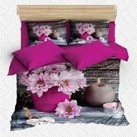 Else 6 Piece Pink Flowers in Purple Vase Gray Candle 3D Print Cotton Satin Double Duvet Cover Bedding Set Pillow Case Bed Sheet