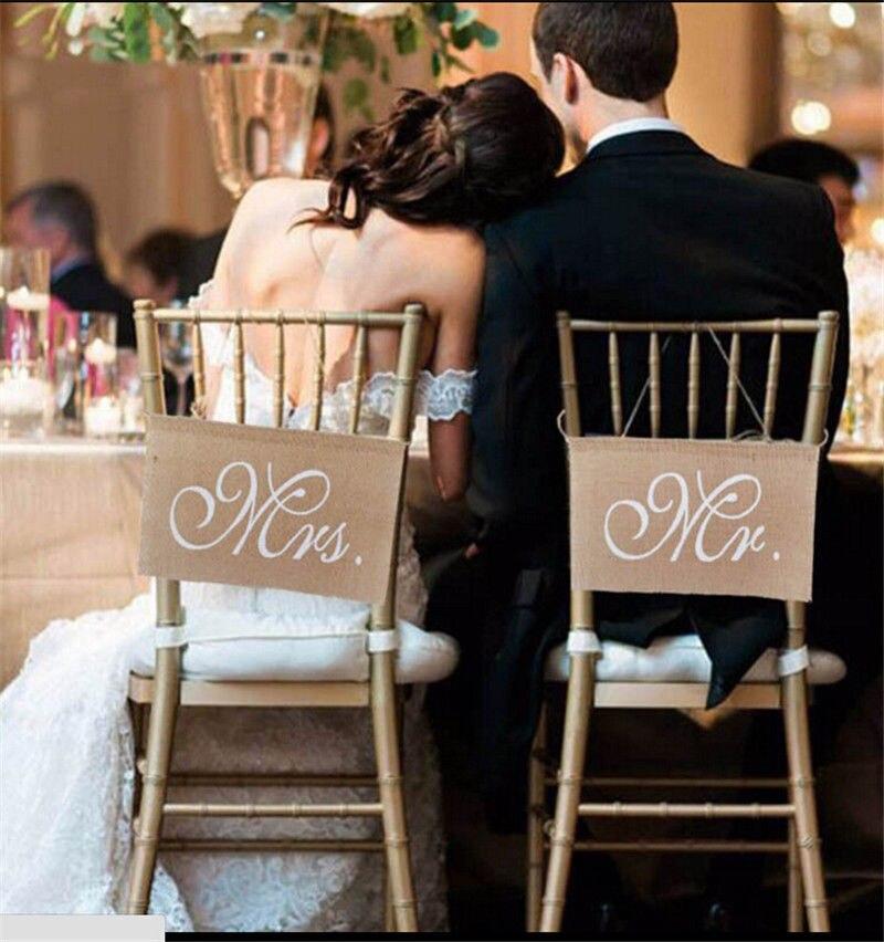 Сельский свадебные баннеры знаки мистер и миссис стул знак мешковины стул знак для жениха и невесты партии Свадебные украшения