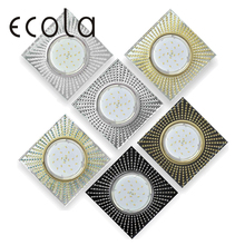 Ecola GX53 H4 5352 Glass Светильник встраиваемый квадратный с прозрачными стразами для ламп GX53 квадрат 40x123x123