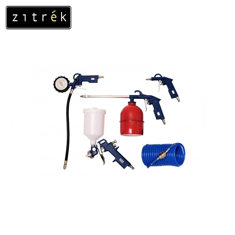 Set of the Zitrek 5PCS pneumotool (5 objects a paint sprayer with the top tank) Pneumatic tool Paint work Cleaning dirty surface все цены