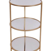 Cheung S Home Decorative 3 Tier Round Gold Metal Table With Mirror