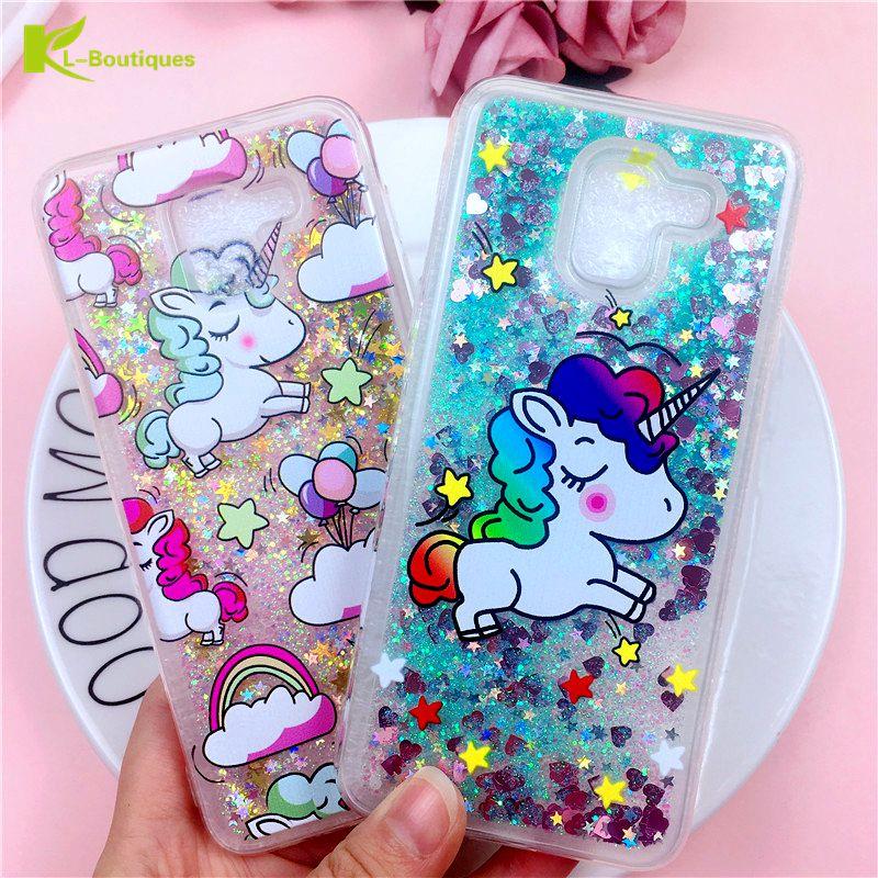 A6 2018 Case On For Coque Samsung Galaxy A6 Plus 2018 Case Unicorn Flamingo Liquid Dynamic Cover For Galaxy A 6 A6Plus 2018 Case