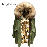Real coffee fox fur liner parka natural red fur collar hood jacket women fur coats for winter woman long army green parkas