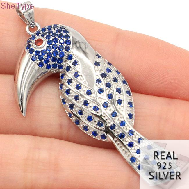 SheType 5 9g Toucan Tanzanite Garnet Gift For Man 925 Solid Sterling Silver Pendant 53x22mm in Pendants from Jewelry Accessories