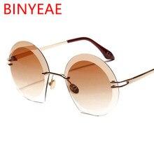 2019 tonos de los hombres sin montura de gafas de sol de gran tamaño de las  mujeres del diseñador de ronda de gafas de sol de ma. 260dedf30694