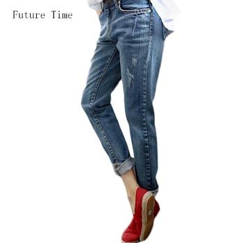 bafbcfefebd Джинсы-бойфренды для Для женщин 2018 Лидер продаж Винтаж проблемных  регулярные спандекс Рваные джинсы джинсовой мыть брюки женские джинсы .