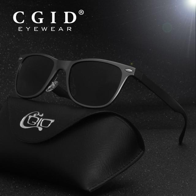 0092e6d61e5438 Aliexpress.com   Buy CGID Polarized Square Sunglasses Aluminum Magnesium  Alloy Black Frame UV400 Mirror Lens for Men Women GD54 from Reliable Men s  ...