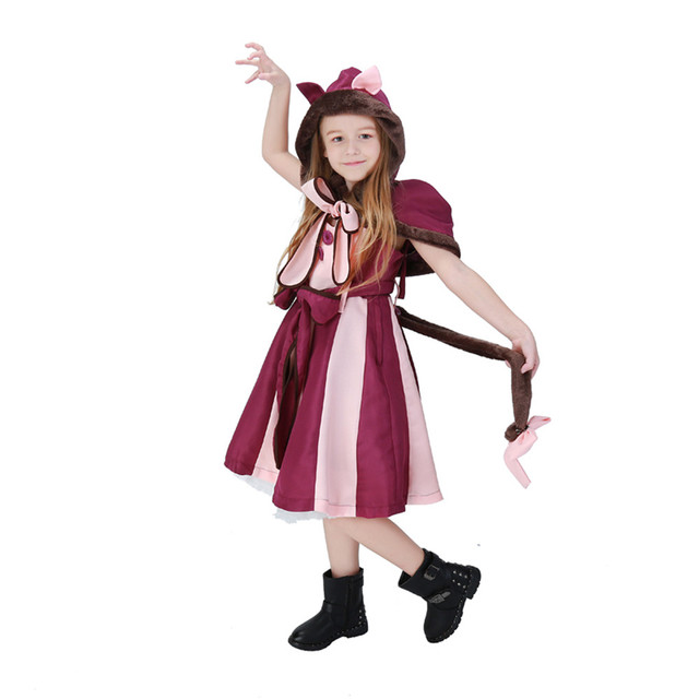 Coslive Kids Girls Alice In Wonderland Cheshire Cat Dress Maid Cosplay Costume Christmas Halloween Party Fancy Dress