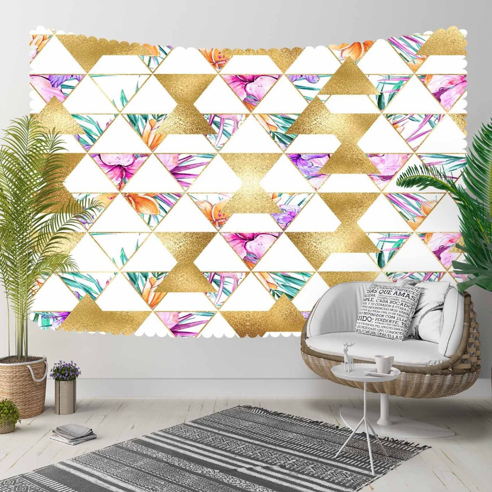 Else Yellow Tirangles Green Purple Floral Geometrics 3D Print Decorative Hippi Bohemian Wall Hanging Landscape Tapestry Wall Art