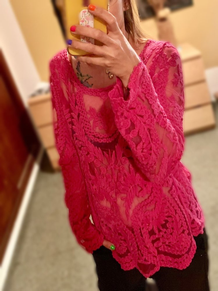 Plus Size Tops Ladies Spring Summer Sexy Transparent Beach Cover Up Hollow Out Crochet Lace Shirt Women Long Sleeve Lace Blouses photo review