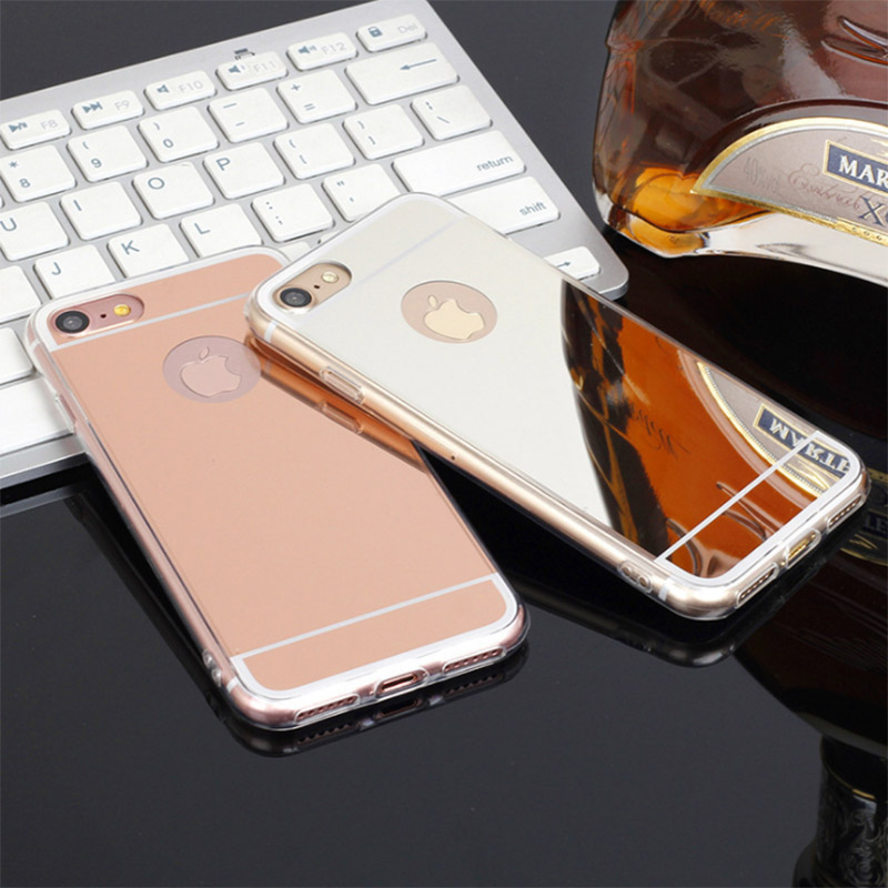 Luxury New Fashion Soft TPU Back Cover Mirror Case For iPhone 5 5s 4 4S SE 6 6S 7 plus Shell Back cover case