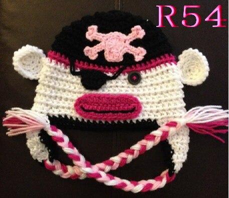 New Style! Handmade Crochet pirate skull baby hat Beanie ,100% cotton baby pirates hat caps Halloween hat