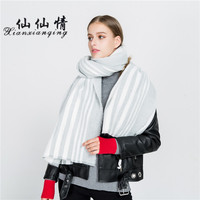 XIANXIANQING Winter Women S Solid Scarf Faux Cashmere Womens Ponchos Striped Lady Shawls And Capes Bandana