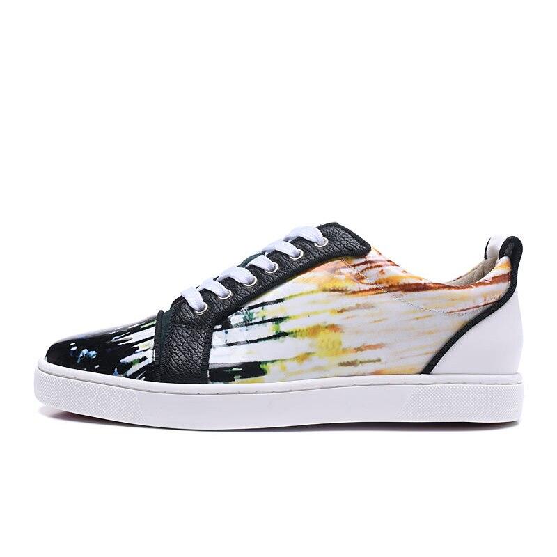 Rendas Moda Dos Casuais Até Luxo De Couro Top Sol Patente Do Homens Sapato Impressão Pôr Sapatos Marca Baixo Sneaker Graffiti Qualidade FCqgw0P