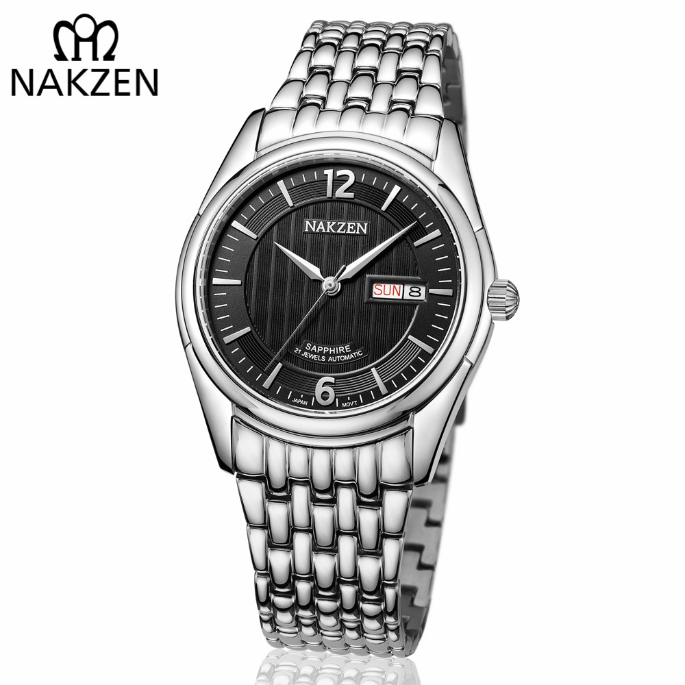 NAKZEN Mens Automatic Mechanical Miyota 8205 Movemen Watches Men Business Waterproof Stainless Steel Clock Relogio Masculino nakzen men quality mechanical watch gents full steel business dress clock male fashion saphhire automatic waterproof 50m watches