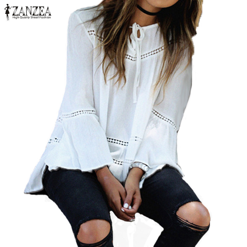 2018 ZANZEA Womens Lace-up Hollow Out Flare Sleeve Flouncing Rayon Casual Loose Summer Tops Blouse Shirt Blusas Plus Size