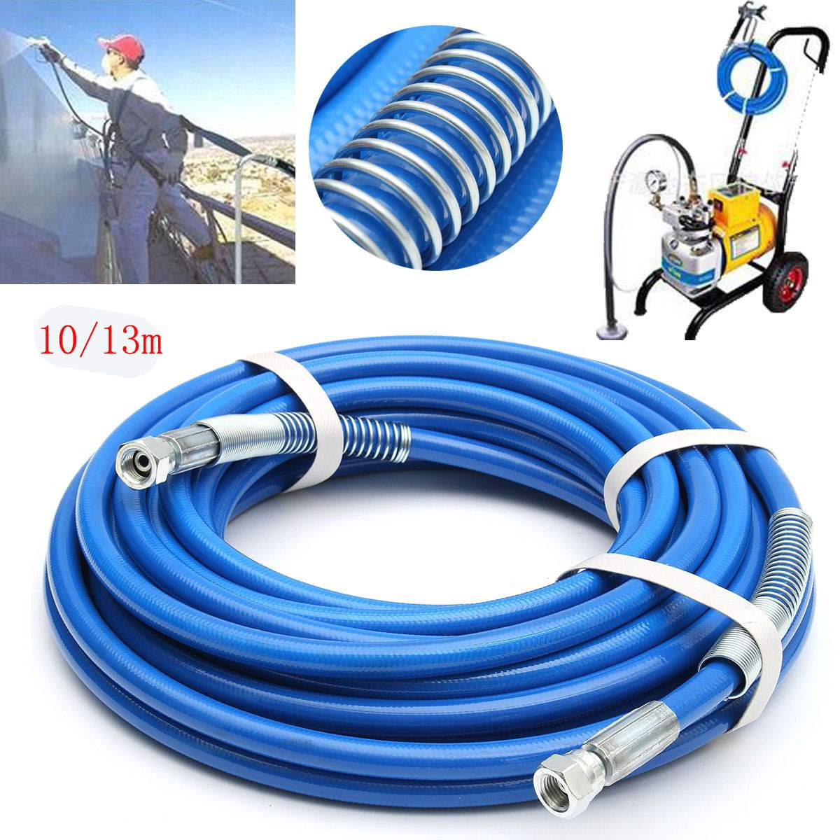 цена на 13m 5000psi High Pressure Pipe Airless Paint Hose 50' x 1/4 Sprayer Airless Paint Hose For Spray Guns Sprayer Water