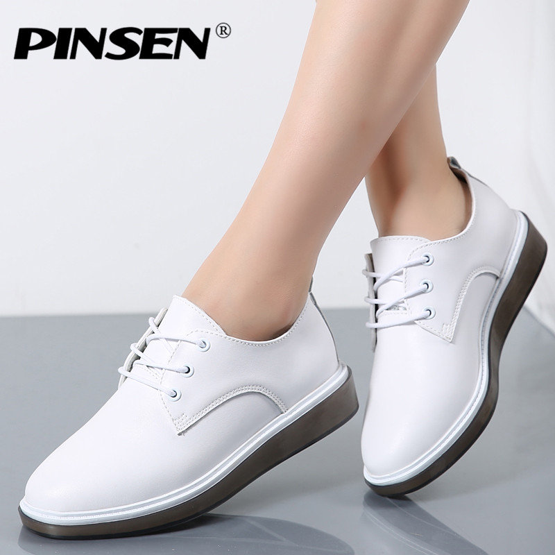 PINSEN 2017 Autumn Women Oxford Shoes Ballerina Flats White Shoes Women Genuine Leather Lace up Boat Shoes Moccasins Loafers girls fashion punk shoes woman spring flats footwear lace up oxford women gold silver loafers boat shoes big size 35 43 s 18
