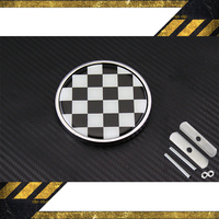 FREE SHIPPING BLACK WHITE GRID MINI GRILL FRONT HOOD Emblem Badge Logo Decal Sticker Metal No