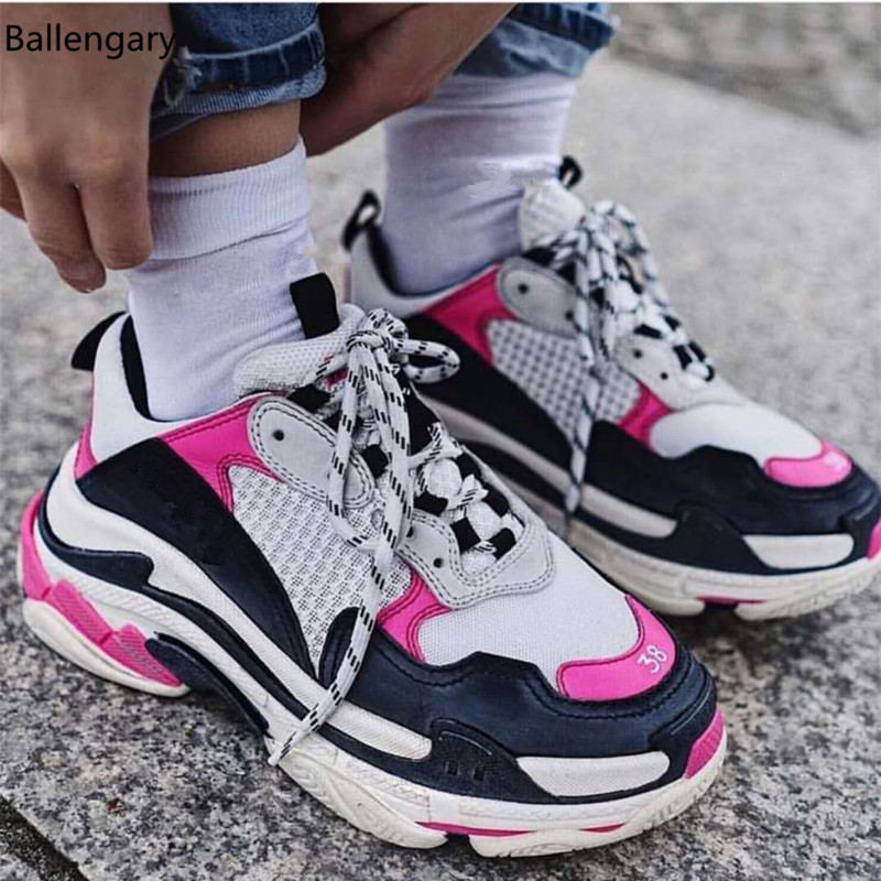 6f21ed39ed9 Fashion Heavy Rubber Sole Platform Lace Up Trainers Suede And Real Leather  Patckwork Pink Yellow Black Sneakers Women Size 41
