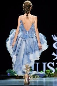 Image 4 - Женское вечернее платье с вышивкой JUSERE, синее Прозрачное платье для встречи выпускного вечера, 2019