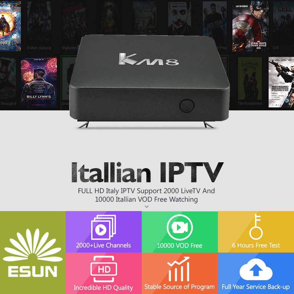 1 Year Free IPTV ITALY KM8 Android TV 2G/16G Italy IPTV EPG 4000+Live+VOD configured Europe Albania ex-yu XXX channels BOX a95x pro voice control with 1 year italy iptv box 2g 16g italy iptv epg 4000 live vod configured europe albania ex yu xxx