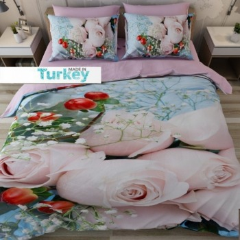 Floral Duvet Covers | Else 6 Piece Blue Floor Pink Roses Red Flowers Floral 3D Print Cotton Satin Double Duvet Cover Bedding Set Pillow Case Bed Sheet