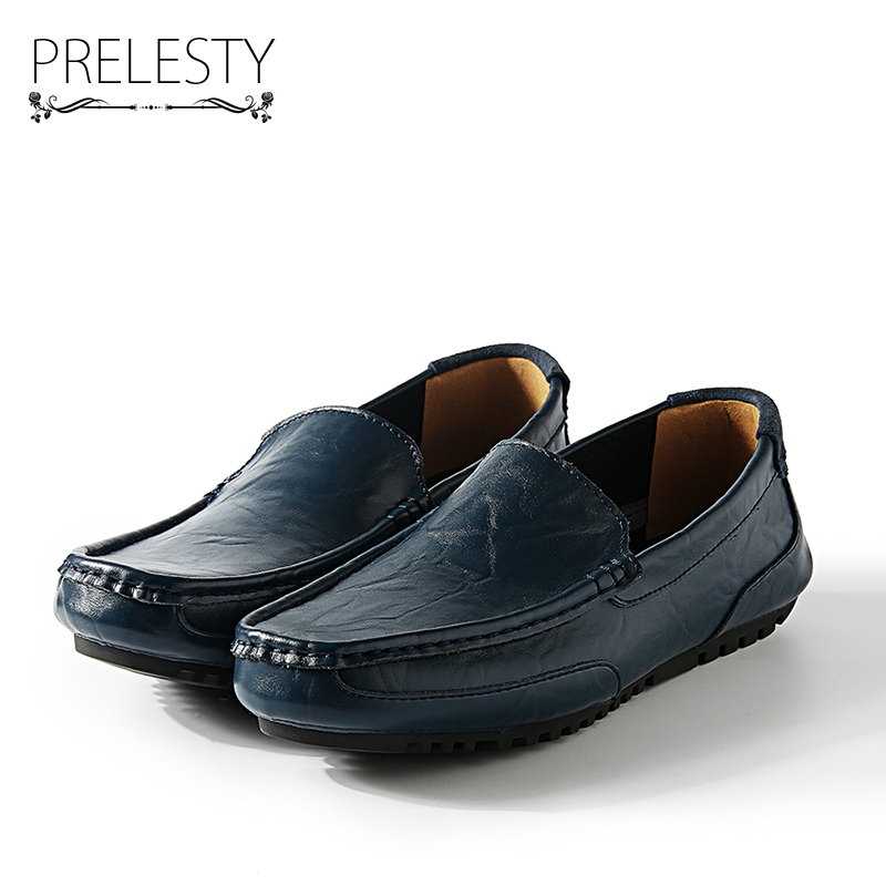 Prelesty Luxury Urban Style Autumn Handmade Men Driving Shoes Loafers Leather Boat Shoes Breathable Male Casual Flats prelesty big size spring autumn breathable men luxury brand driving shoes handmade leather loafers casual slip on footwear male
