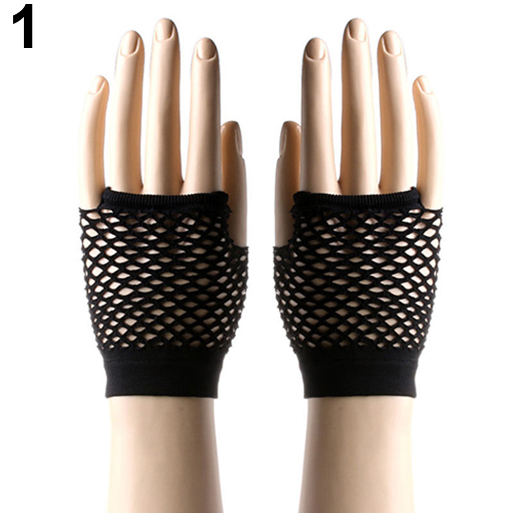 Women Sexy Dance Costume Party Fishnet Fingerless Mesh Clubwear Gloves