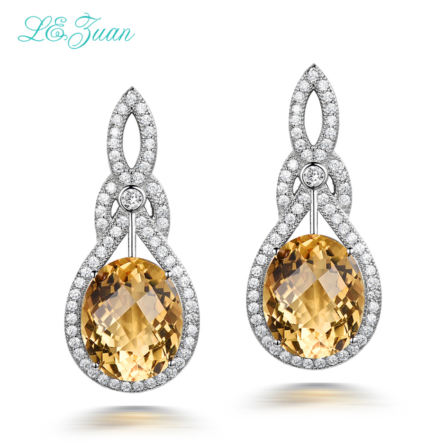 I&zuanDrop Earrings 9.41ct Natural Citrine  Real 925 Sterling Silver Jewelry Gemstone Wedding Party Earrings For Women E0051
