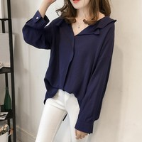 Plus Size Women Elegant V Neck Ruffles Casual Loose Solid Tops Blusas Autumn Spring Long Batwing