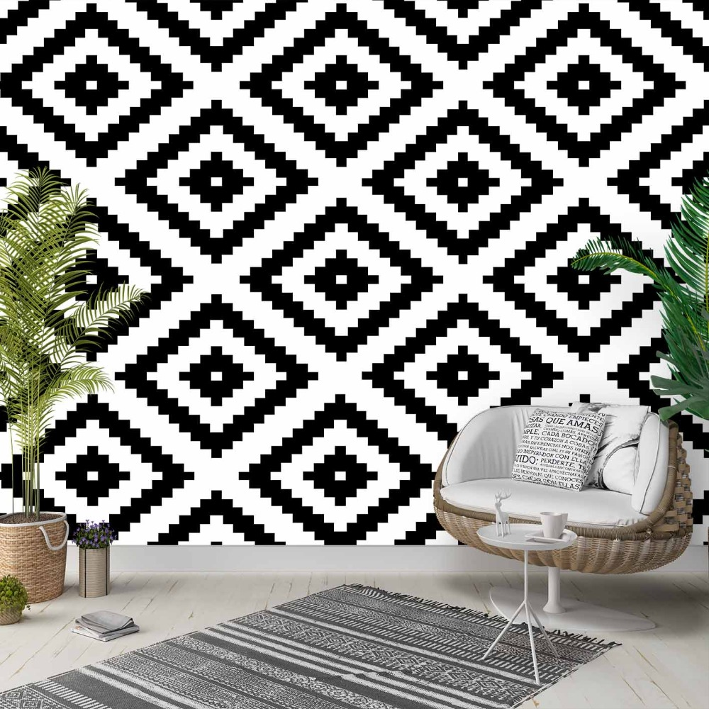 Else Black White Nordec Ikat Geometric Tiles 3d Photo Cleanable Fabric Mural Home Decor Living Room Bedroom Background Wallpaper