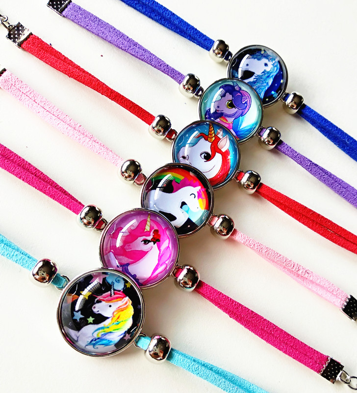 Genteel Jiangzimei 24pcs/lot Unicorn Bracelet Lucky Horse Handmade Leather Charm Bracelets For Girl Orders Are Welcome.