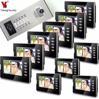 Yobang Security 7 inch Video Intercom RFID Camera With 2/3/4/6/8/10/12 Monitors Doorphone Doorbell For Muti Apartments Families