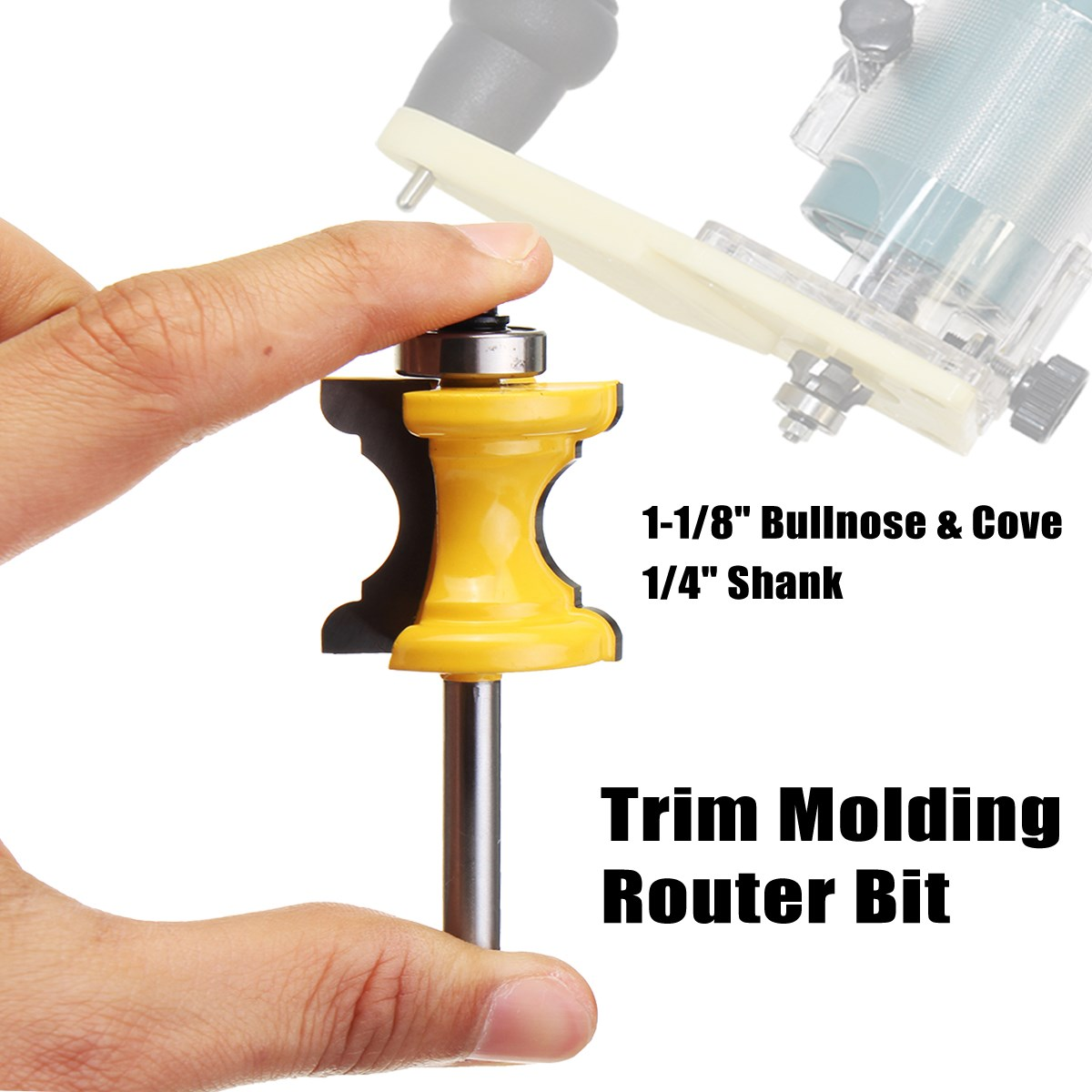 1-1/8'' Bullnose & Cove Trim Molding Router Bit 1/4'' Shank Woodworking cutter  Bead Column Face Molding Router Bit 1 2 shank bullnose bead column face molding router bit alloy woodworking cutter for wood milling machines power tool