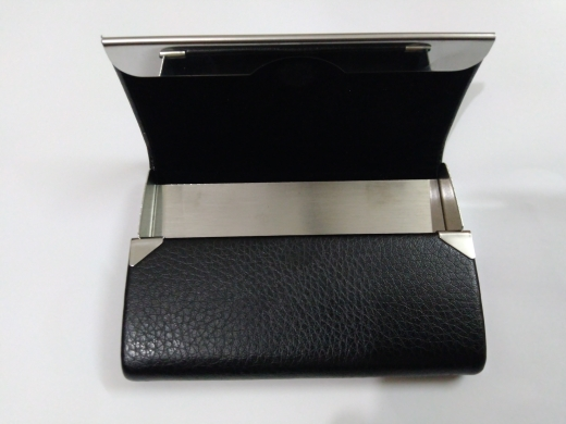 Aelicy Big Capacity Business Name Card Holder Credit Card Holder Fashion Unisex PU Leather Solid Visit Card Case Metal Wallet photo review