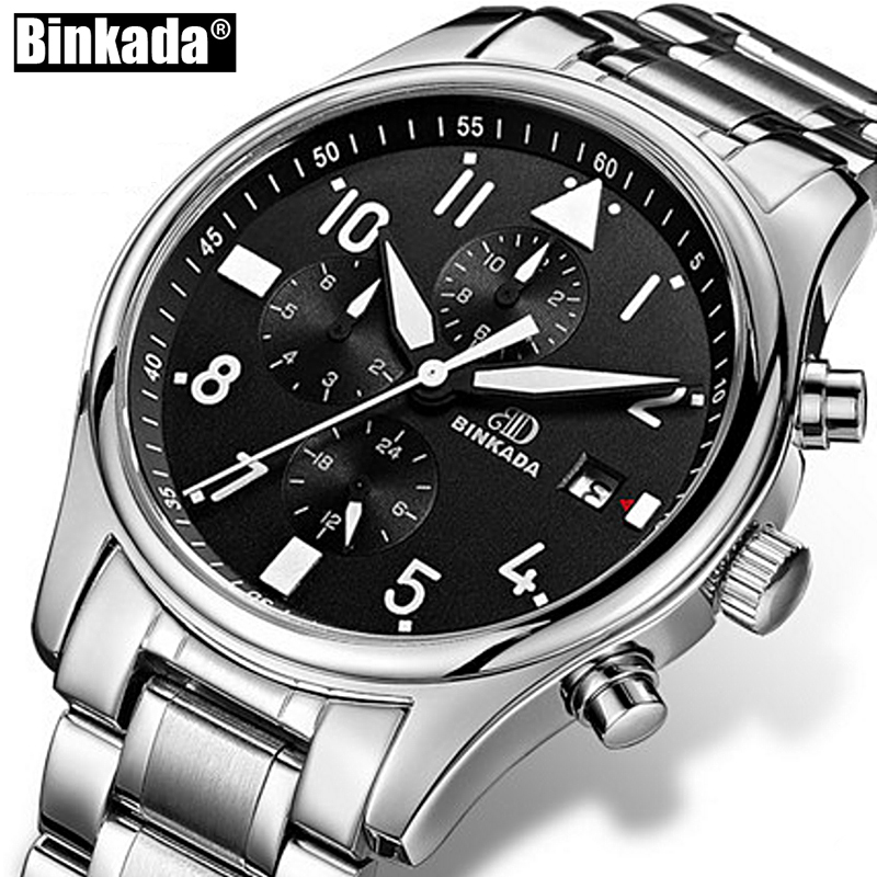 BINKADA Mechanical Watch Military Sport Men Waterproof Watches Mens Stainless Steel Automatic Casual Watches Relogio Masculino
