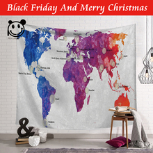 PEIYUAN Polyester World Map Pattern Wall Cloth Hanging Tapestry Decorative Learning Gift Bedspread Beach Towel Yoga Picnic Mat