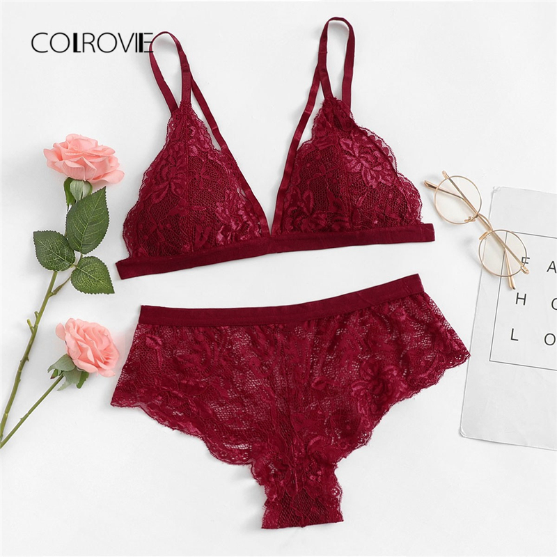 COLROVIE Burgundy Solid Sexy Floral Lace Lingerie Set 2019 New Women Bra And Brief Sets Wireless Sexy Underwear Bra Set