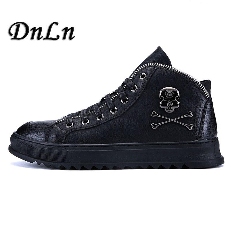 2018 New Design Men Skull Boots Genuine Leather Men Flat Shoes Ankle Boots Male Low Heels Men Boots D50